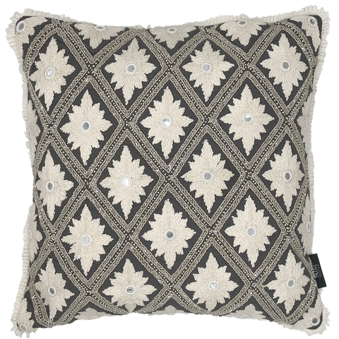Geometric Embroidery Pillow Grey Fabric fringe