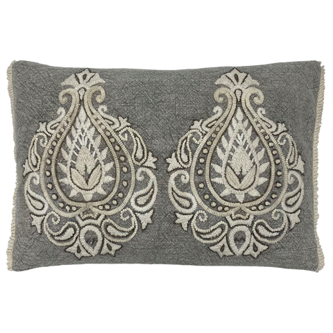 Distressed Paisley Embroidery Lumbar Pillow
