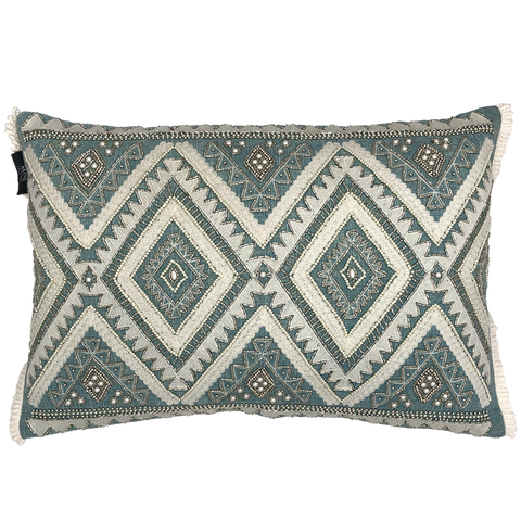Diamond Beads Embroidery Pillow with Fringe, 14''x20''