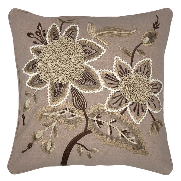 Marguerite Embroidery Pillow, 18''x18''