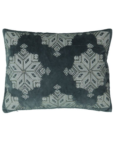 "Silver Beads Snowflake Velvet Embroidery Decorative Lumbar Pillow, 13"" X 18"