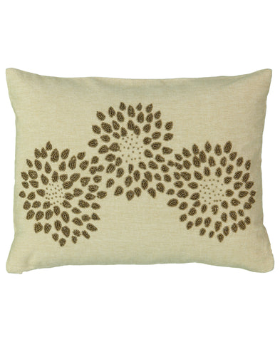 "Gold Beads Growing Flower Lumbar Pillow, 13"" X 18"""