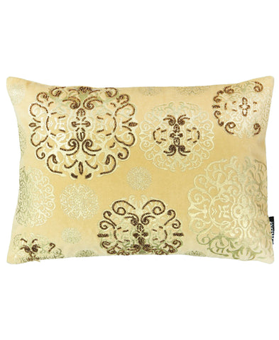 "Medallion Foil Print Velvet Decorative Lumbar Pillow, 13"" X 18"""