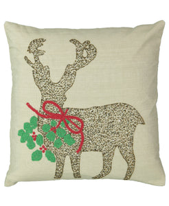 "Gold Beads Reindeer Embroidery Decorative Pillow, 18"" X 18"" Mod Lifestyles"