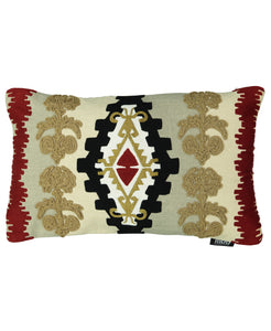 "Multi-colored Navajo Clay Embroidery Decorative Lumbar Pillow, 14"" X 22"""