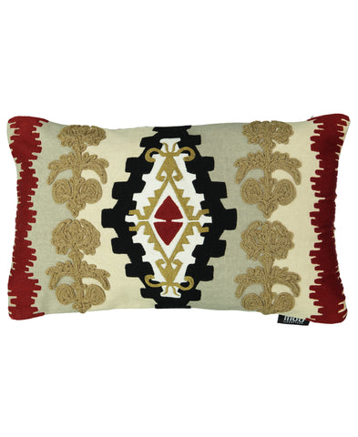 "Navajo Clay Embroidery Decorative Lumbar Pillow, 14"" X 22"""