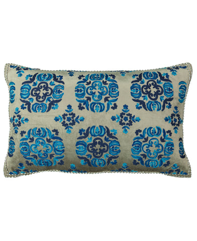"Blue Safavieh Moroccan Embroidery Velvet Decorative Lumbar Pillow, 14"" X 22"""