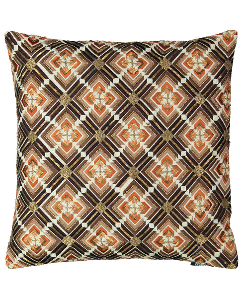 "Geometric Flame Embroidery Decorative Pillow, 20"" X20"""
