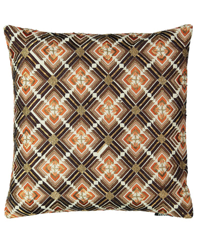 "Geometric Flame Embroidery Decorative Pillow, 20"" X20"" Mod Lifestyles"