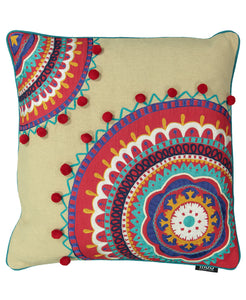 "Multi-colored Bohemian Embroidery Decorative Pillow with Pompoms, 20"" X 20"""