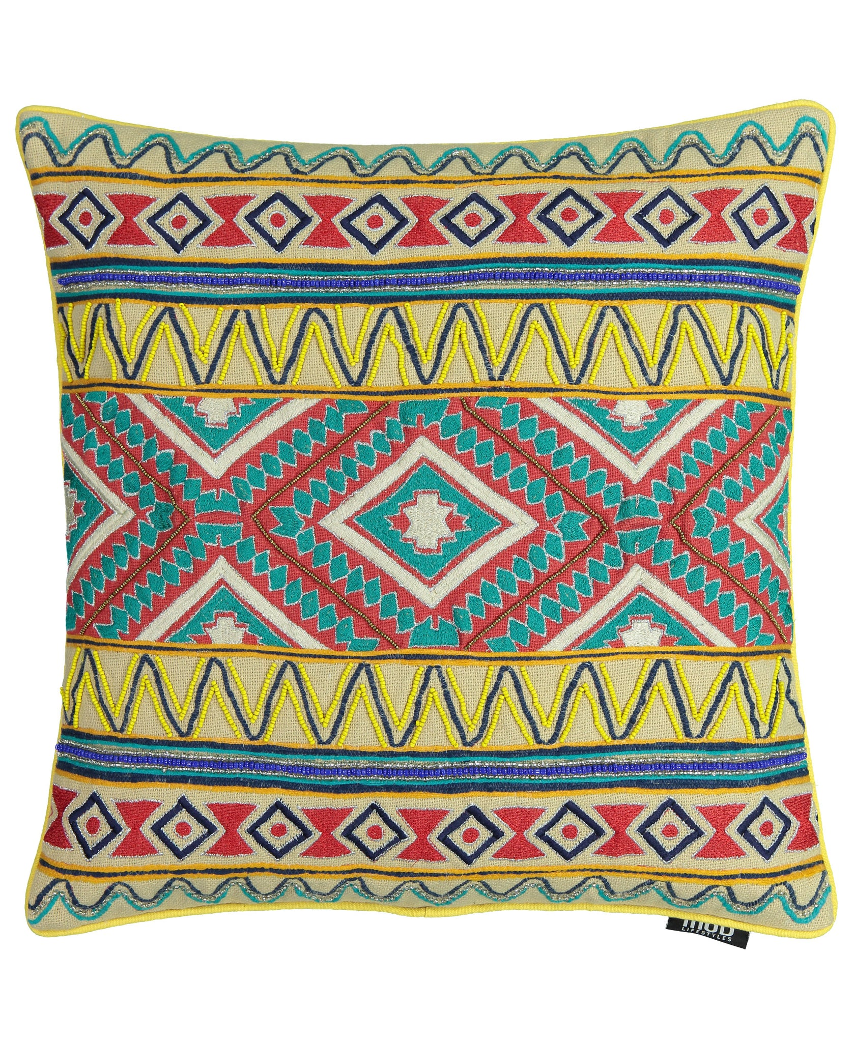 "Tribal Beads Embroidery Decorative Pillow, 20"" X 20"" Mod Lifestyles"