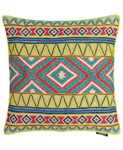 "Tribal Beads Embroidery Decorative Pillow, 20"" X 20"""