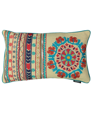 "Santa Fe Embroidery Decorative Lumbar Pillow, 14"" X 22"""