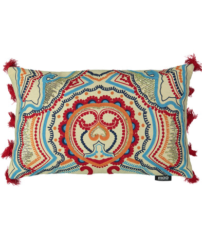 "Indian Embroidery Decorative Lumbar Pillow with Tassels, 14"" X 22"""