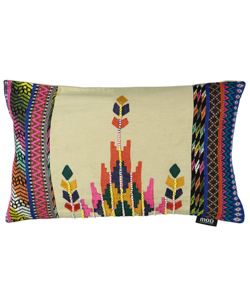 "Ethnic Empire Embroidery Decorative Lumbar Pillow, 14"" X 22"""