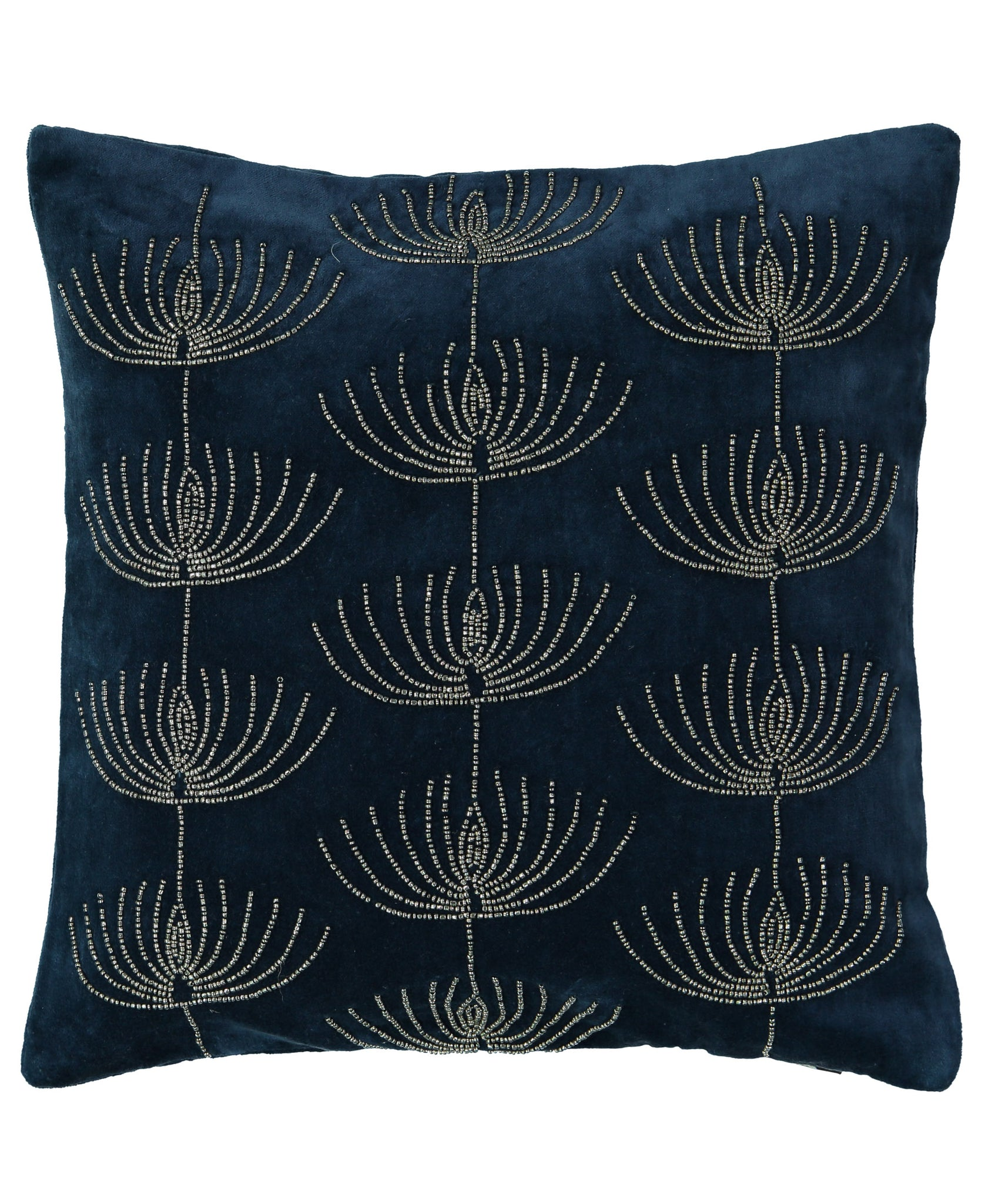 "Jewish Candelabra Beads Velvet Embroidery Decorative Pillow, 14"" X 14"" Mod Lifestyles"