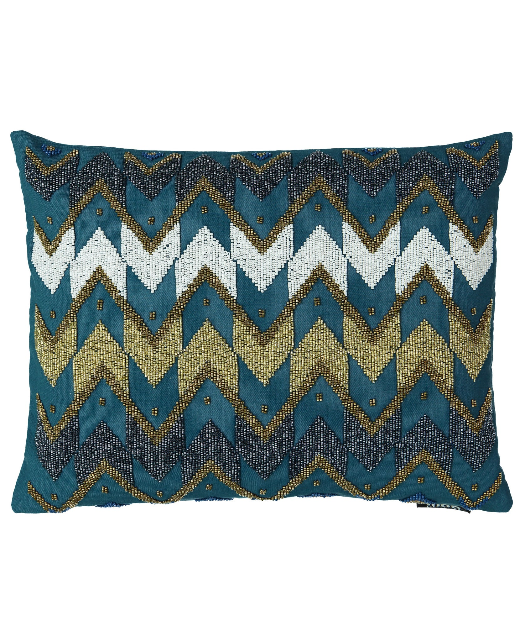 "Dark Blue and Gold Chevron Beads Embroidery Lumbar Pillow, 13"" X 18"" Mod Lifestyles"