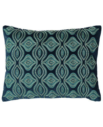 "Flor Beads Embroidery Velvet Lumbar Pillow, 13"" X 18"" Mod Lifestyles"