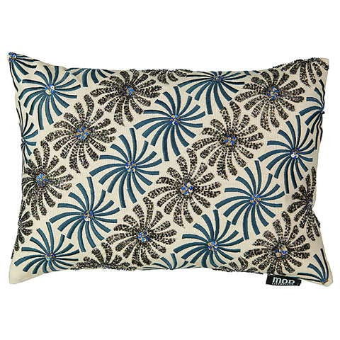 "Windmill Beads Embroidery Decorative Lumbar Pillow, 13"" X 18"""