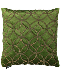"Olive and Gold Link Rings Beads Velvet Embroidery Decorative Pillow, 18"" X 18"" Mod Lifestyles"