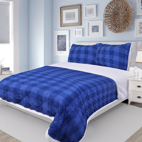 Montana Blue Check Microfiber Quilt Set Sherpa Back, King Size Mod Lifestyles