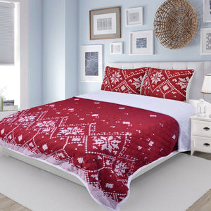 Maine Red and White Snowflake Microfiber Quilt Set Sherpa Back, King Size Mod Lifestyles
