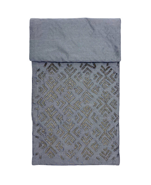 "Silver Argyle Bugle Beads Table Runner, 13"" X 72"""
