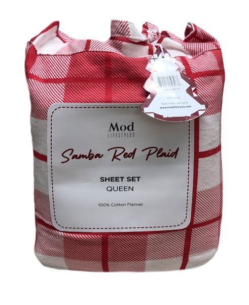 Samba Red Plaid Cotton Flannel Sheet Set, Queen Size Mod Lifestyles