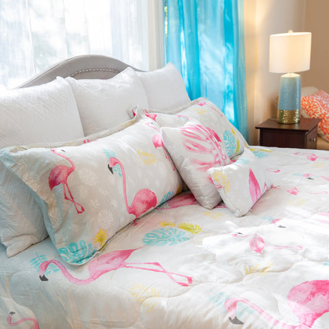 "Flamingo Queen Comforter Set, 88"" X 94"" Mod Lifestyles"