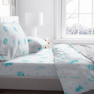 Christmas Blue Sky Cotton Flannel Sheet Set, King Size Mod Lifestyles