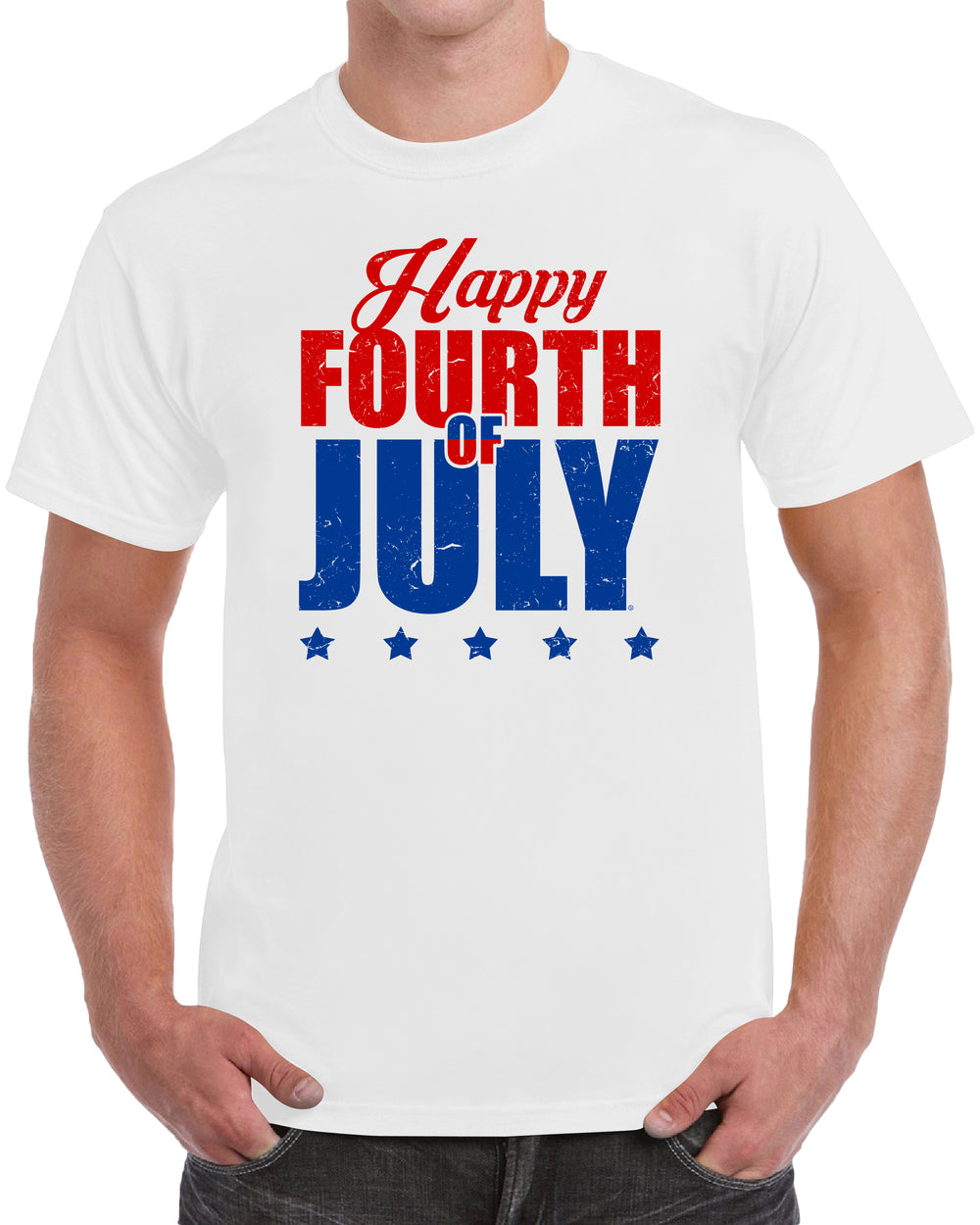 Happy Fourth Of July - Distressed Print