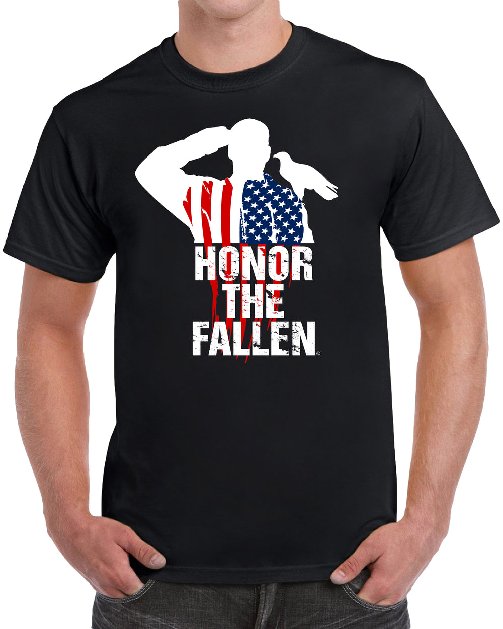 Honor The Fallen Men - Flag Cape Text