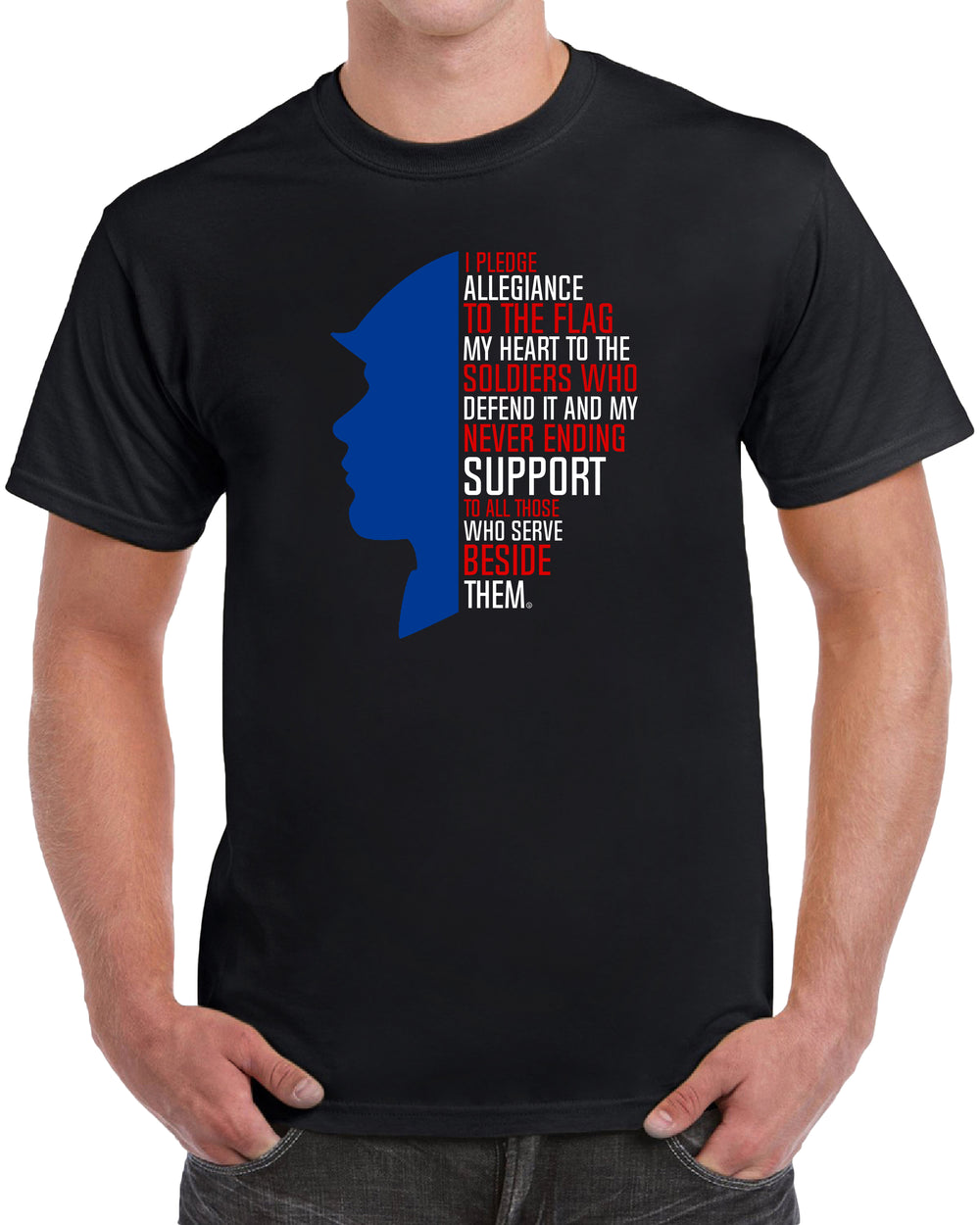 I Pledge Allegiance Heart Support to All Patriotic - Solid Print