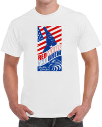 Red White and Brew Live Free Drink Beer - Distressed Print