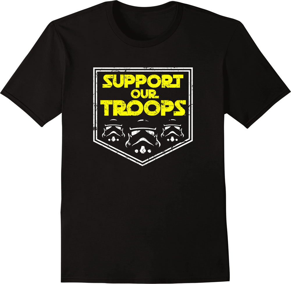 Support Our Troops - Yellow Text White Outline Distressed Print