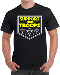 Support Our Troops - Yellow Text White Outline Solid Print
