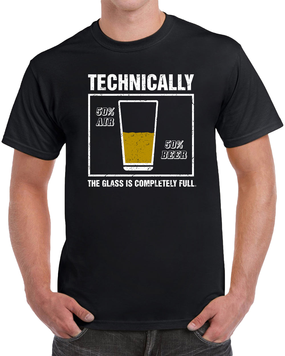 Technically The Glass is Completely Full - Distressed Print