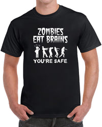 Zombies Eat Brains You're Safe - Solid Print