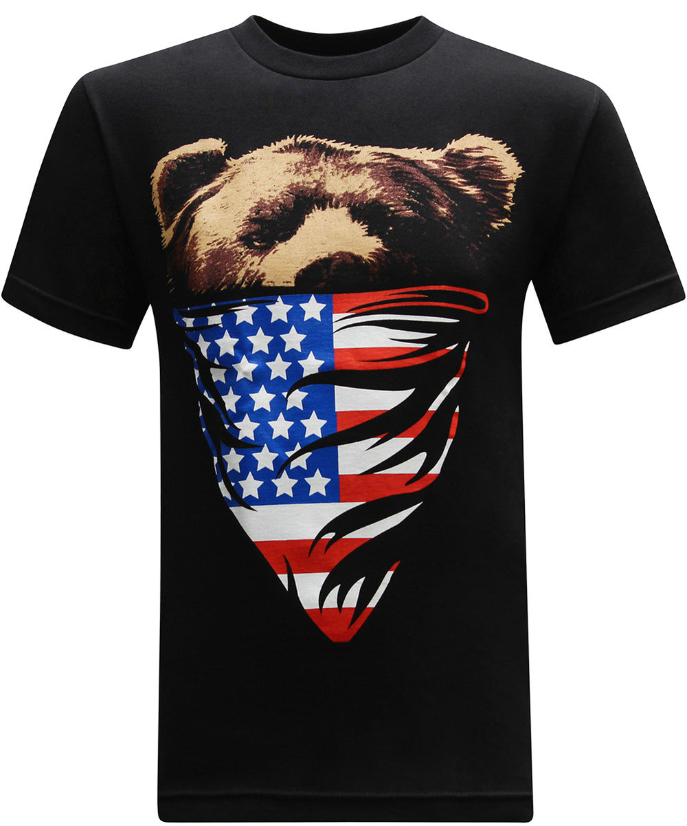 California Republic American Flag Bandana Bear Men's T-Shirt - tees geek
