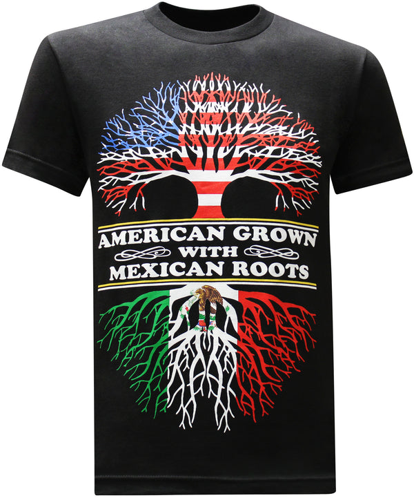 American Grown Mexican Roots Men's Funny T-Shirt - tees geek