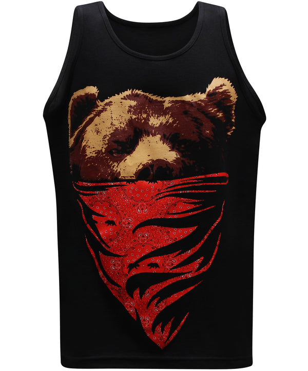 California Republic Red Bandana Bear Men's Muscle Tee Tank Top T-Shirt - tees geek
