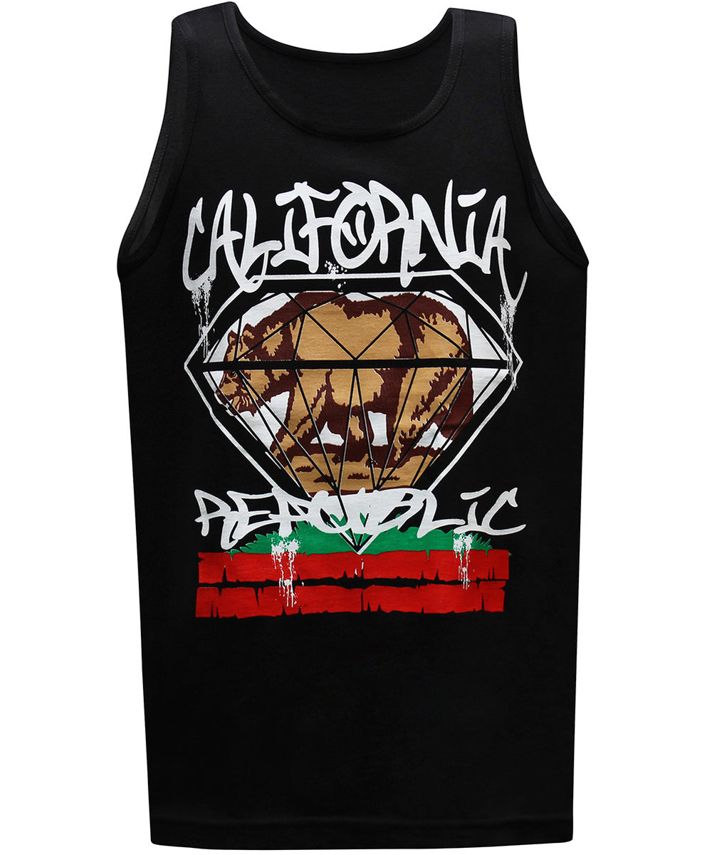 California Republic Big Diamond Men's Muscle Tee Tank Top T-shirt - tees geek