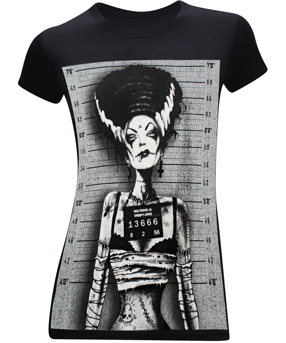 Bride of Frankenstein Mugshot Women's Fitted Funny T-Shirt - tees geek