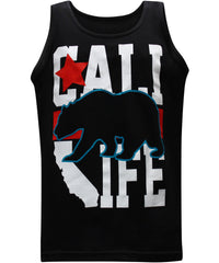 California Republic Cali Life Black Men's Muscle Tee Tank Top T-Shirt - tees geek