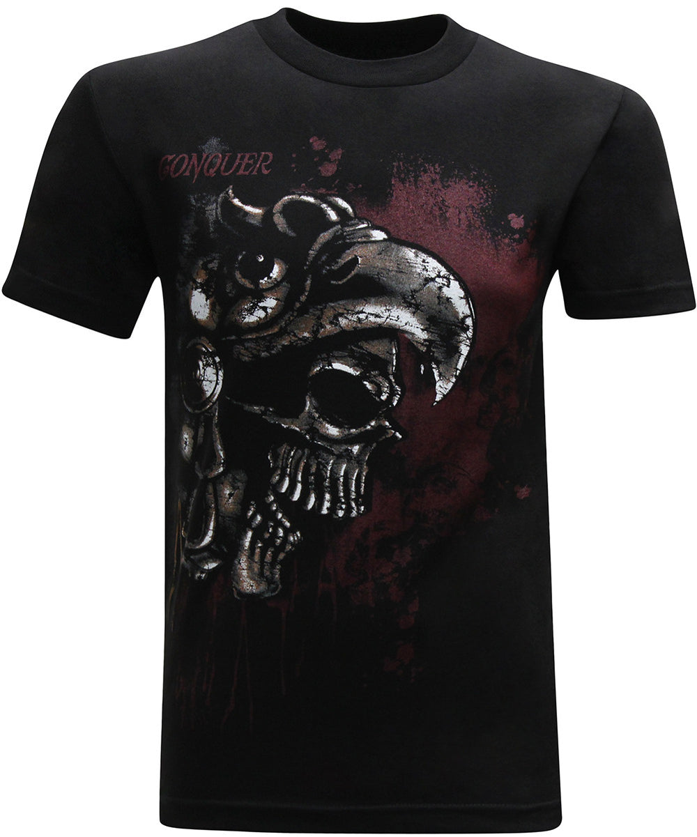 Conquer Aztec Eagle Skull Mexican Latino Men's T-Shirt - tees geek