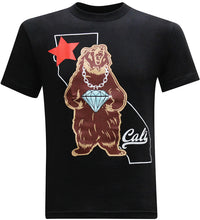 California Republic Cali Diamond Bear Men's T-Shirt - tees geek