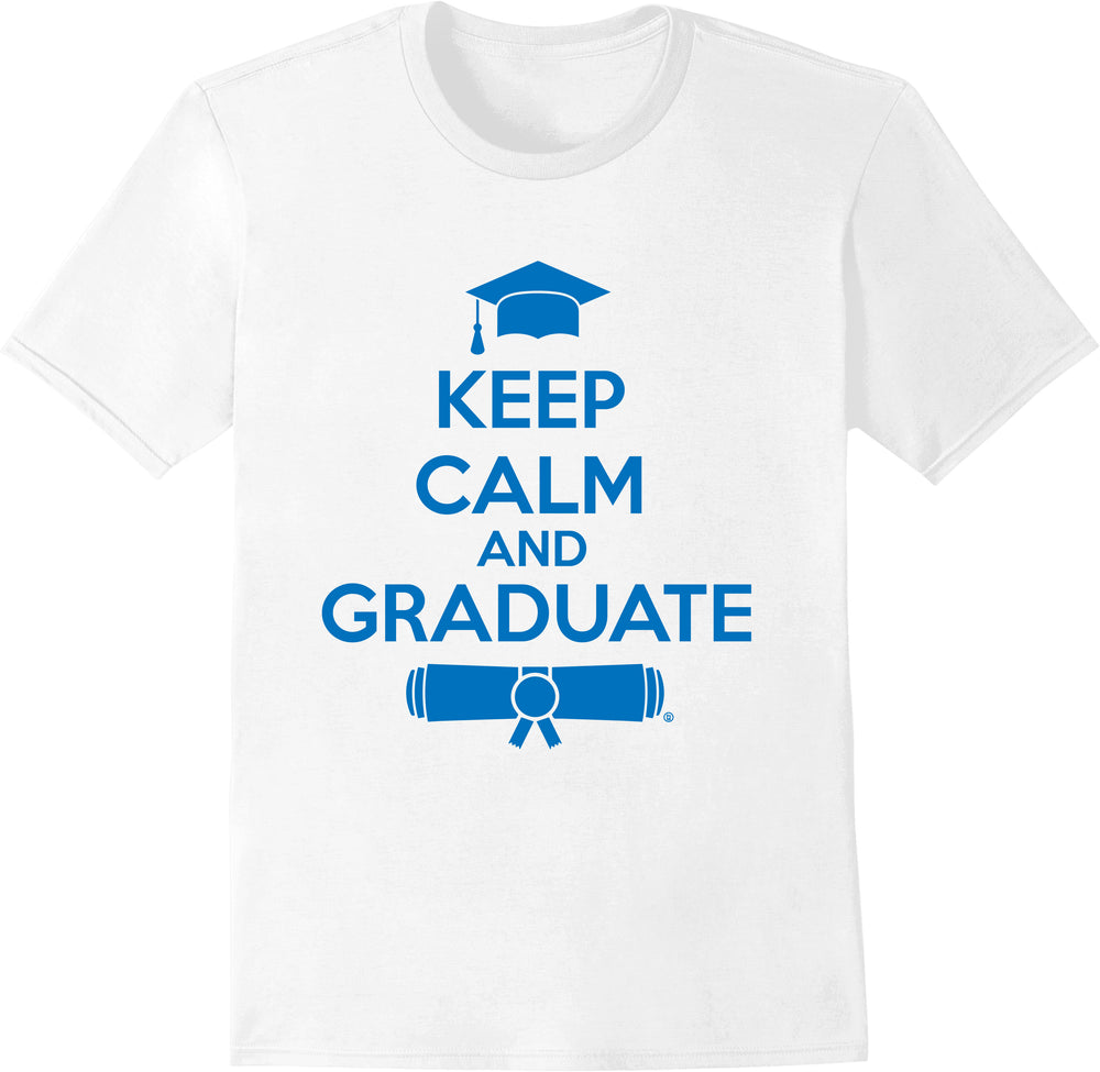 Keep Calm & Graduate White - Blue Print