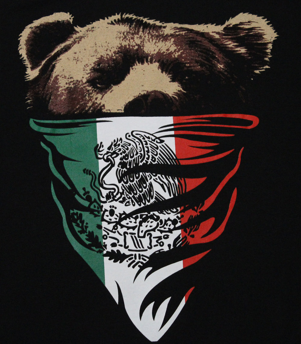 California Republic Mexican Flag Bandana Bear Men's T-Shirt - tees geek