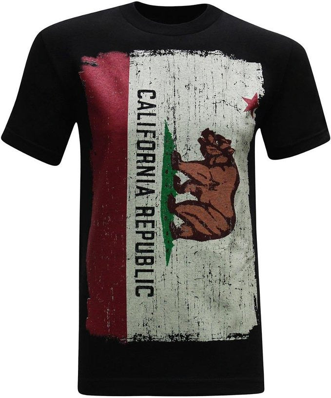 California Republic Painted Flag Men's T-Shirt - tees geek