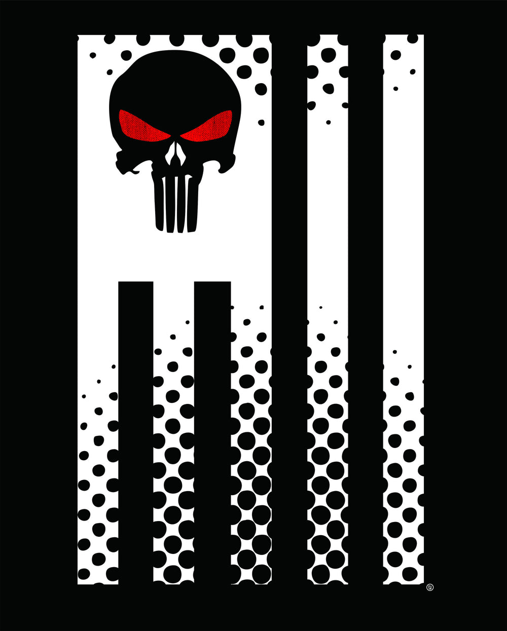 Punisher Red Eye Skull Flag